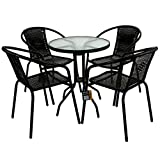 Marko Outdoor 3 & 5 Piece Bistro Set Black Wicker Rattan Woven Chairs with Round Glass Table (5 Piece Set)