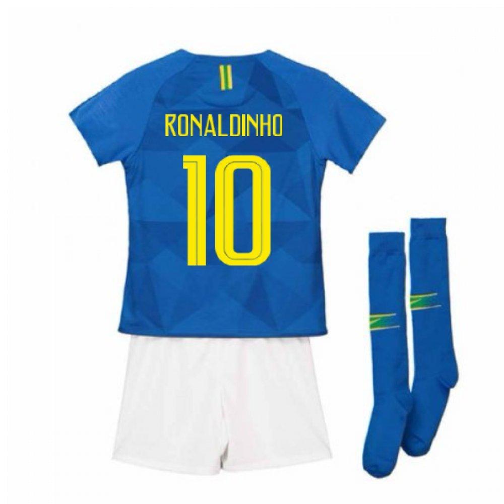 UKSoccershop 2018-2019 Brazil Away Nike Little Boys Mini Kit (Ronaldinho 10)