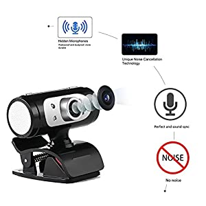 Micro USB HD Webcam 1080P - Digital Web Cam with Built-in Microphone, LED Night Lighting, Flexible and Portable External Web Camera with Clip