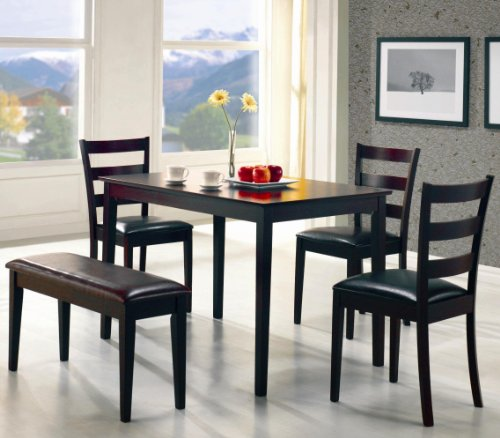 5pc Dining Dinette Table Chairs & Bench Set Cappuccino Finish by Home Life