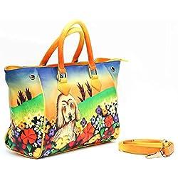 Leather Women's Handbag Hand Painted ladies Shoulder satchel Hobo Tote 3659