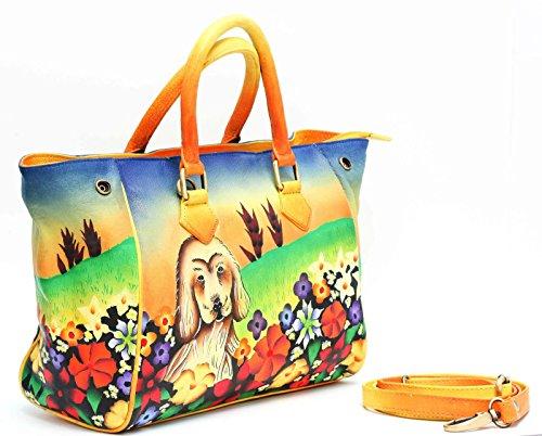 Stitched Pocket Hobo (Leather Women's Handbag Hand Painted ladies Shoulder satchel Hobo Tote 3659)