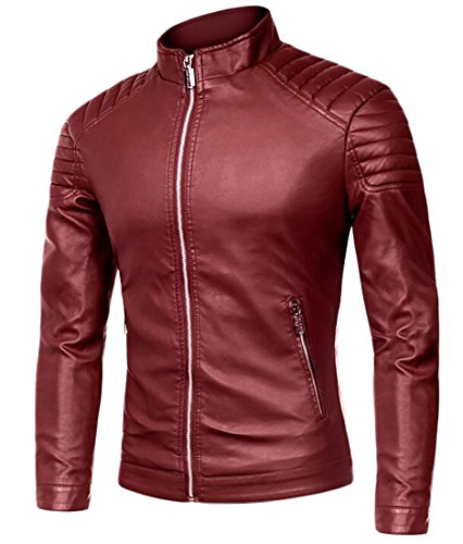 X-Future Men's Casual Full-Zip Stand Collar Slim Fit Faux-Leather Moto Jackets Coat Wine Red US XS