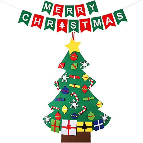 MINGPINHUIUS 2018 Kids Toddlers Felt Christmas Tree with Merry Christmas Banner, Xmas Walls Windows Door Hanging Ornaments Decorations (Style 2-30pcs) ()