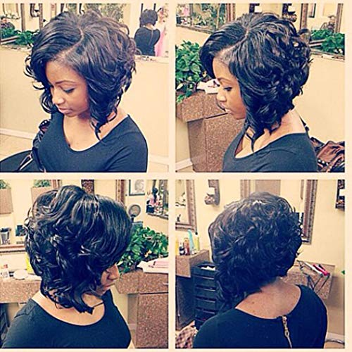 Women's Curly Lace Front Wigs Women Synthetic Black Short Bob Mother's Day (a)]()