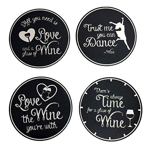 Wine Cork Coasters - 4 Absorbent Drink Coasters - Best Wine Gifts Accessory for Any Wine Lover
