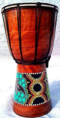 World Playground 30cm Djembe Drum with Hand Painted Design - West African Bongo Drum by World Playground