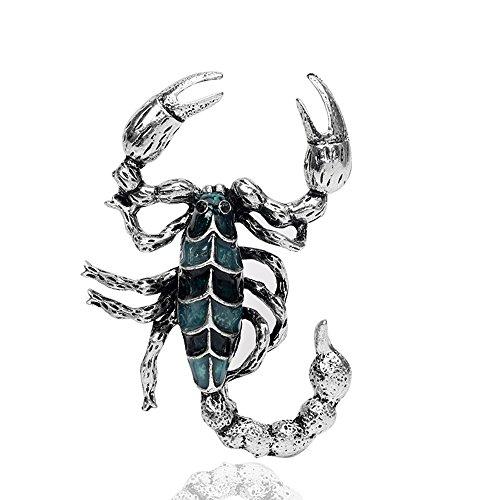 - MINGHUA Gold Silver Cool Scorpion Brooch Pins for Men Dress (Silver)