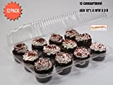 Cupcake Boxes, Cupcake Containers, 12 Pack Cupcake Containers, Set of 12,by the Bakers Pantry