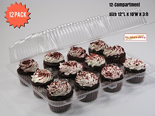 Cupcake Boxes, Cupcake Containers, 12 Pack Cupcake Containers, Set of 12,by the Bakers (Cupcake Container)