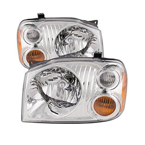 HEADLIGHTSDEPOT Compatible with Nissan Frontier Base/XE Aluminum Bezel Headlights Halogen Set Headlamps Pair