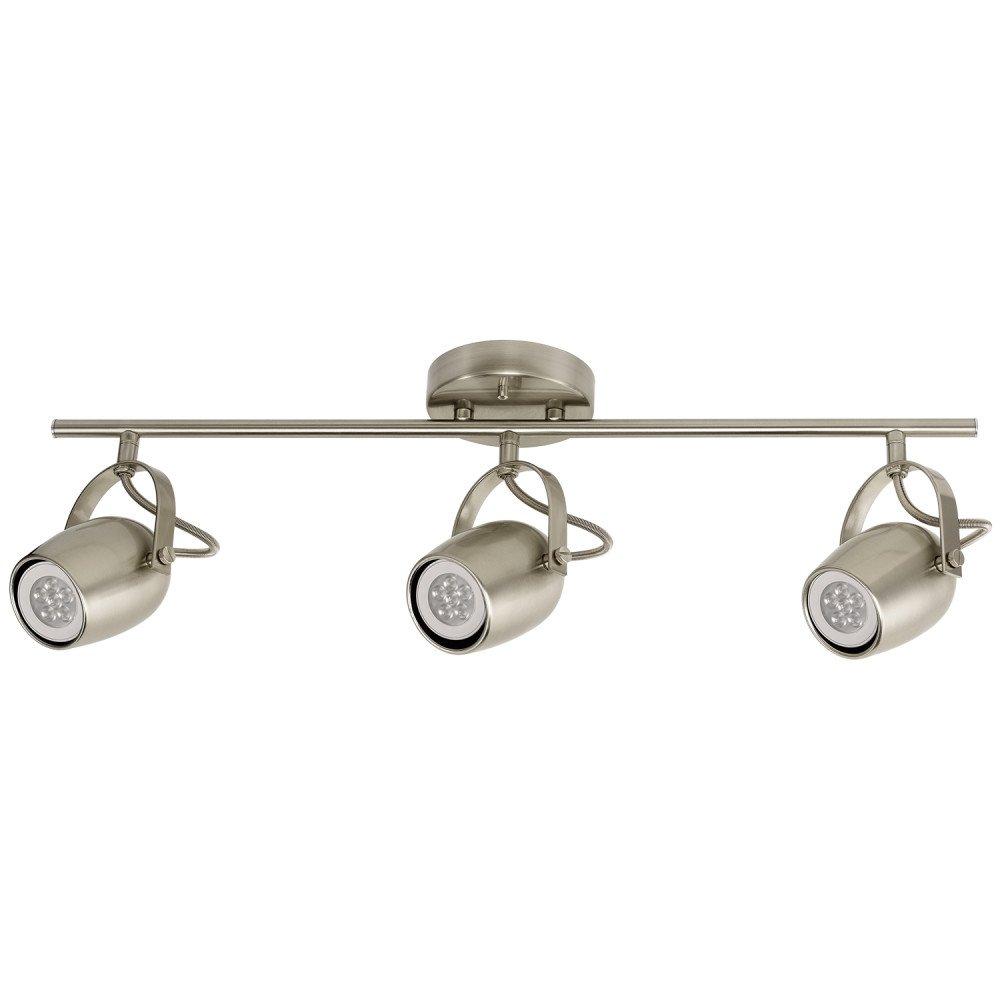 Globe electric samara 3 light track lighting brushed nickel led bulbs included 58959
