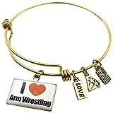 Expandable Wire Bangle Bracelet I Love Arm Wrestling - NEONBLOND