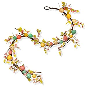 National Tree 72 Inch Garland with Pastel Easter Eggs and Flowers (RAE-15532G6 ) 92