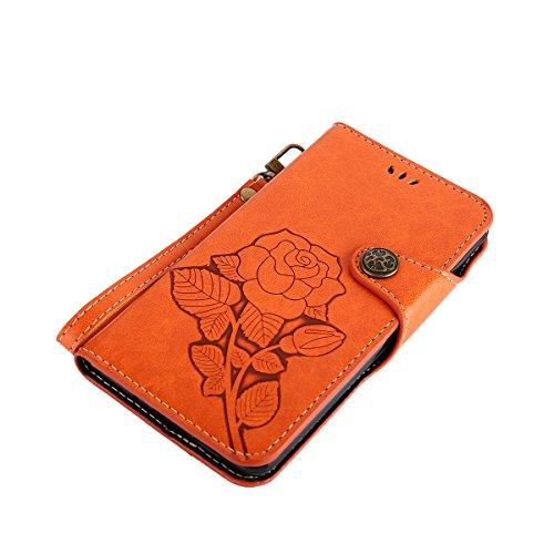 MEIRISHUN Leather Wallet Case Cover Carcasa Funda con Ranura de Tarjeta Cierre Magnético y función de soporte para Huawei Mate 10 - Negro naranja