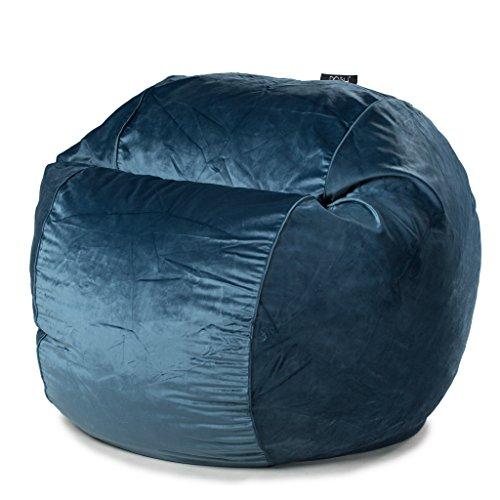 POSH - Navy Velvet - Extra Large Bean Bag Chair - Velvet Bean Bag