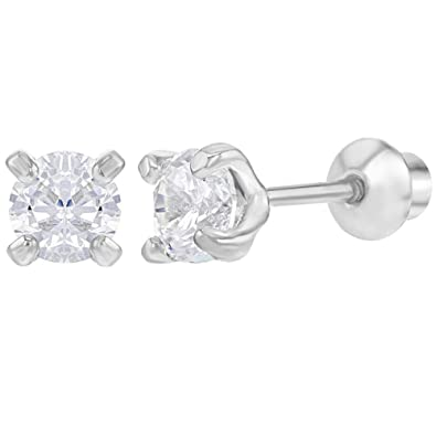 62fea5507 925 Sterling Silver Prong Set CZ Screw Back Earrings for Girls 4mm: Amazon. co.uk: Jewellery