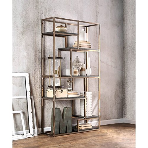 Furniture of America Corley Contemporary 6 Shelf Bookcase, Champagne by Furniture of America