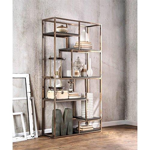Furniture of America Corley Contemporary 6 Shelf Bookcase, Champagne