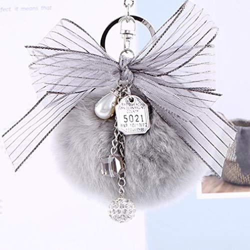 GloryMM Pompom Bowknot Keychain Key Ring with Rhinestone Ball Metal Tag Waterdrop Simulation Pearl Polyhedron Pendant Decor for Handbag Car Wallet,Grey