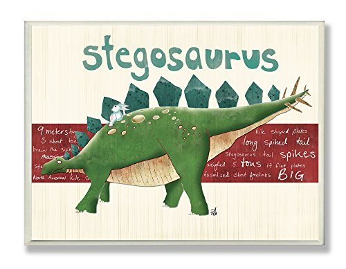 Wall Hangings Dinosaur - The Kids Room by Stupell Stegosaurus Dinosaur Rectangle Wall Plaque, 11 x 0.5 x 15, Proudly Made in USA