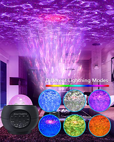 Galaxy Projector Light, aifulo LED Star Light Projector, Ocean Wave Starry Night Light Projector with Music Speaker,Colour Changing and Remote Control for Children Adults Bedroom Home Party Decoration
