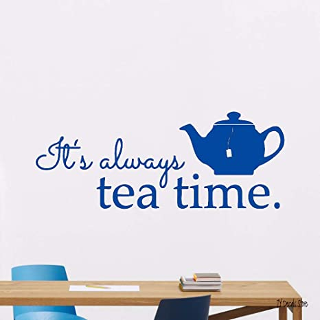 Tea Time Kitchen Vinyl Sticker Art Poster Home Decal Decor ...