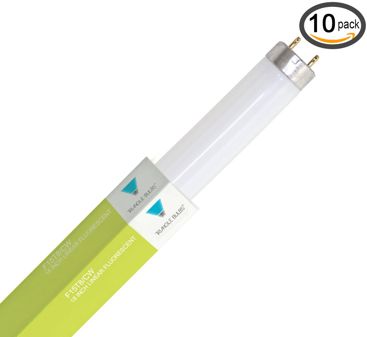 (Pack of 10) F15T8/CW 15-Watt Straight T8 Fluorescent Tube Light Bulb, Cool W...