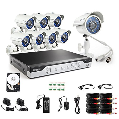 Zmodo Outdoor Surveillance Camera System 8CH 960H Video DVR with 8X700TVL High Resolution Day/Night IR-Cut Built-in Weatherproof Security Cameras with 1TB Hard Drive