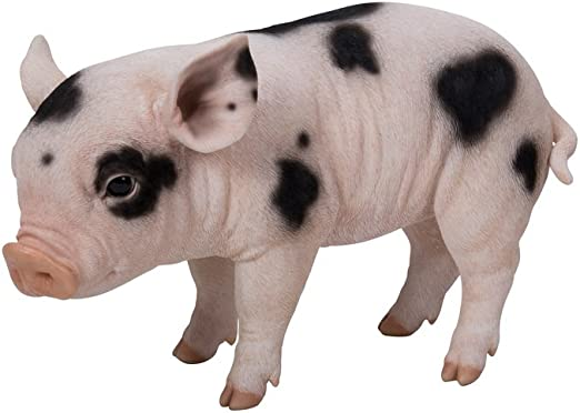 Life Like Figurine Statue Home Standing Pig W Black Spots Large Garden