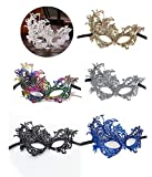 Ru S 6 Pieces Multicolored Masquerade Masks Lace Masks Women Venetian Style Eye Mask for Costume Ball Halloween Party