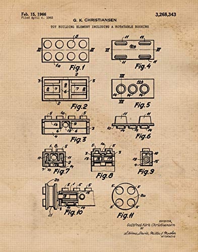 (Original Lego Patent Poster Print- Set of 1 (One 11x14) Unframed Picture- Great Wall Art Decor Gifts Under $15 for Home, Office, Garage, Man Cave, Teacher, Builder, Developer, Architect, Puzzles)