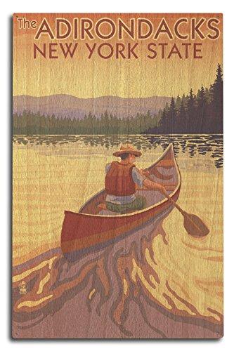 The Adirondacks, New York - Canoe Scene (10x15 Wood Wall Sign, Wall Decor Ready to Hang)