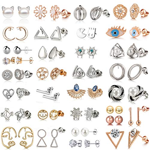 - 32 Pairs Assorted Stainless Steel Stud Earrings for Teens Girls Women-Cute Animal Faux Pearl Cat Elephant Sun Moon Star CZ Twise Heart Geometric Pattern Small Statement Bar Stud Earring Set (#2)