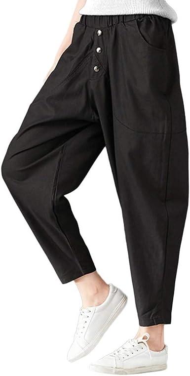 Pantalones De Haren Holgados De Mujer Tallas Grandes Algodon Y Lino Pantalones Bloom Pantalones Casuales De Hip Hop Color Liso Pantalones Deportivos De Moda Gusspower Amazon Es Ropa Y Accesorios