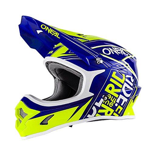 O'Neal 3Series MX Helm Fuel Blau Neon Gelb Hi-Viz Motocross Enduro Quad Cross, 0623-54, Größe XXL (63/64 cm)