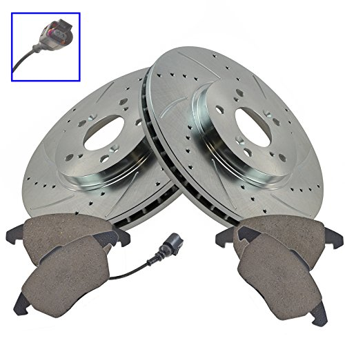 Performance Brake Rotor Drilled Slotted Coated & Ceramic Pad Front Kit ()