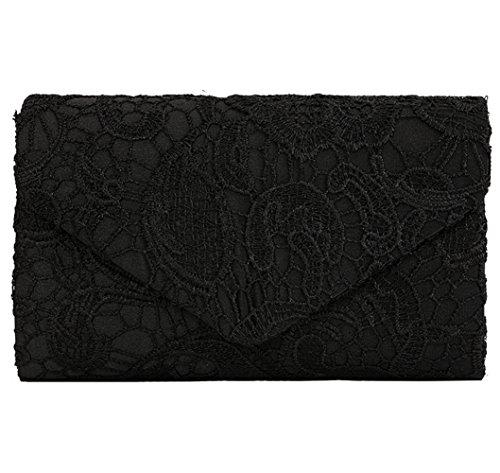 U-Story Womens Floral Lace Satin Evening Envelope Clutch Bridal Wedding Handbag Purse (Black) - Lace Evening Purse