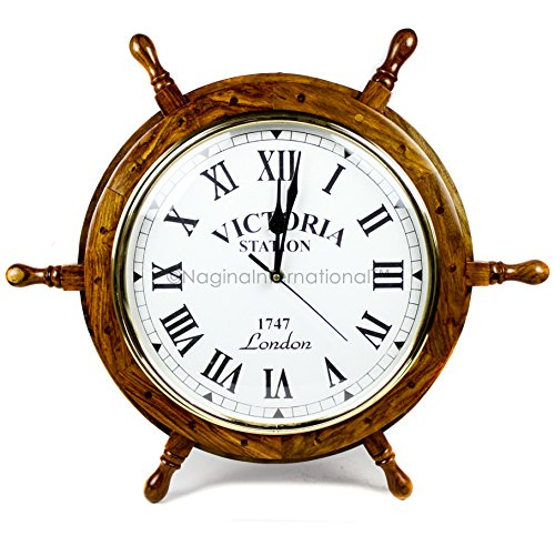Nagina International Nautical Handcrafted Wooden Premium Wall Decor Wooden Clock Ship Wheels   Pirate's Accent   Maritime Decorative Time's Clock (24 Inches, Clock Size - 14 Inches)