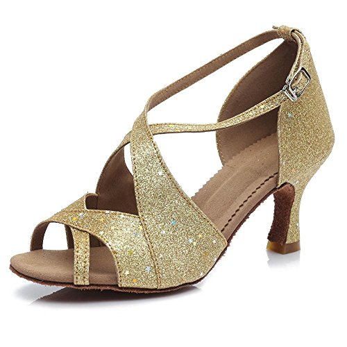 YFF Ballroom Salsa tango latin dance shoes girls women's 50mm and 65mm heel Gold 50mm euQNxcmWvQ