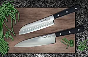 """Ultimate Kitchen™ HOME CHEF – 8"""" Chef Knife & 7"""" Santoku Knife Set in Custom Knife Case – Durable, Corrosion-Resistant Stainless Steel – Great Christmas Gifts with Black Friday Deals!"""