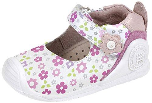 Biomecanics 152138 - Mercedes para bebés niñas blanco y estampado flores (napa soft)