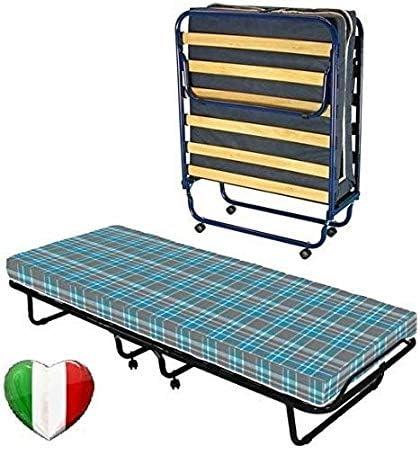 Cama plegable con somier de láminas y colchón de waterfoam ortopédico, de 80 x 190 cm y 8 cm de altura.