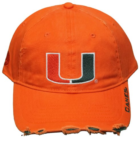 New! Miami Hurricanes - Adjustable Buckle Back Pre-Distressed Embroidered Cap