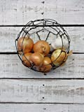 Small Handmade Round Wire Wall Hanging Basket