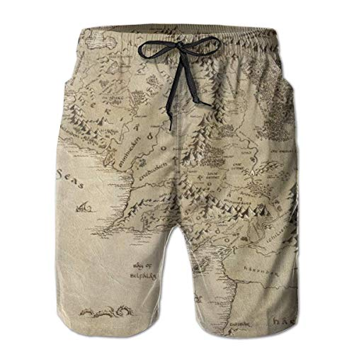 Map Boardshort - Middle Earth Map Mens Beach Pants Swimming Trunks Quick Dry Board Short with Lining White