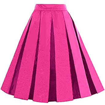 Dressever Women's Vintage A-Line Printed Pleated Flared Midi Skirts Fuchsia X-Small