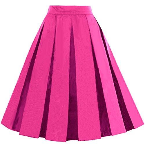 (Dressever Women's Vintage A-line Printed Pleated Flared Midi Skirts Fuchsia)