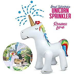 Rainbow Lemon Giant Inflatable Unicorn Sprinkler