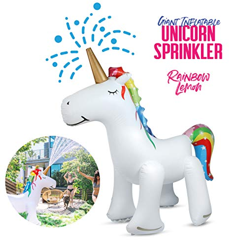 Rainbow Lemon Giant Inflatable Unicorn Sprinkler | Premium Thick Eco-Friendly PVC | Sprays Water from Horn | 5.8' Tall